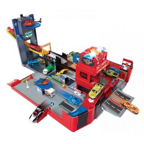 Dickie Toys SOS Series - Tűzoltóság autópálya játékszett fénnyel és hanggal (203719005)