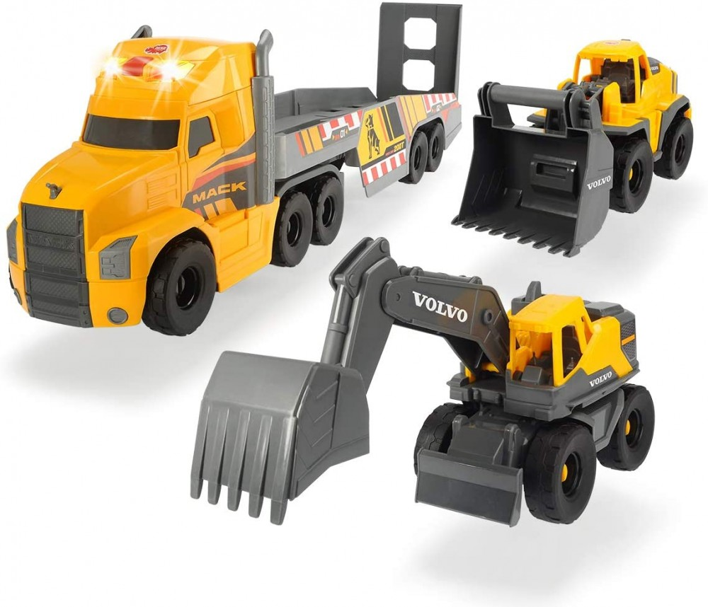 Dickie Toys - Óriás Mack kamion Volvo munkagépekkel 70cm | D