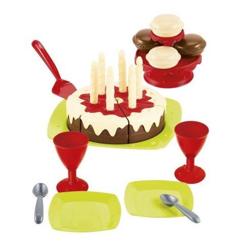 Écoiffier 100% Chef 2513 Játék születésnapi csokitorta étkészlettel
