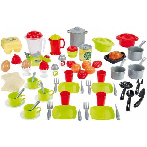 Écoiffier 100% Chef 2598 70 részes játék étkészlet tárolódobozban