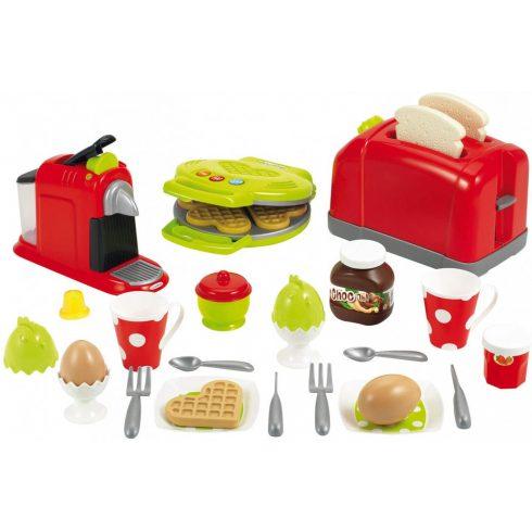Écoiffier 100% Chef 2647 Játék reggeliző készlet kenyérpirítóval, kávéfőzővel és gofrisütővel