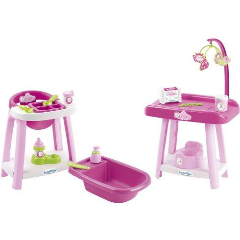 Écoiffier Nursery 2878 Etetőszék, babakád és pelenkázóasztal játékbabáknak