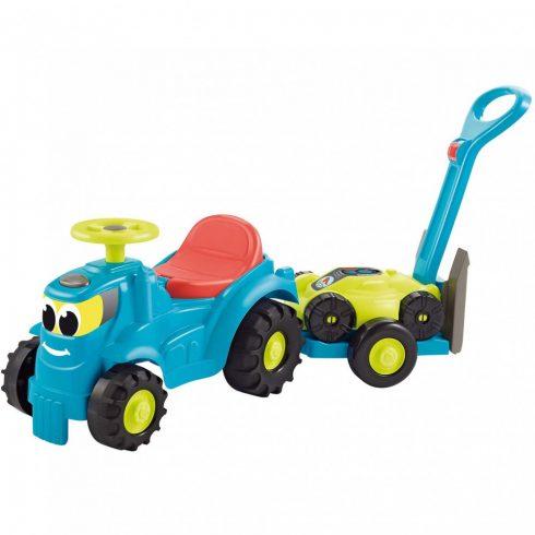 Écoiffier 4350 Traktor bébitaxi utánfutóval és fűnyíróval