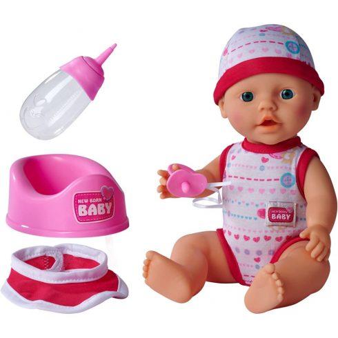 Simba Toys New Born Baby - 5 funkciós, interaktív lány baba 30cm (105037800)