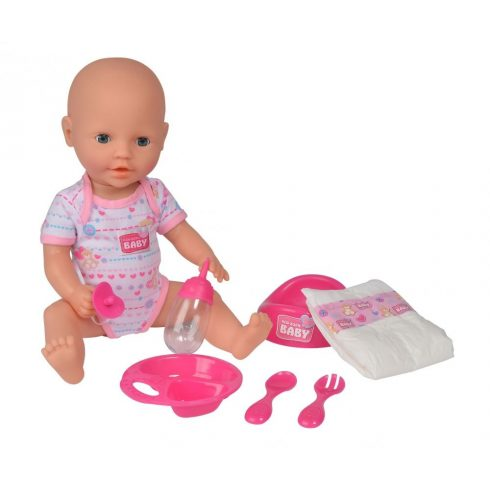 Simba Toys New Born Baby - 6 funkciós, interaktív lány baba 38cm (105032533)