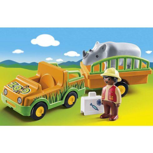 Playmobil 70182 1.2.3 Állatkerti autó orrszarvúval