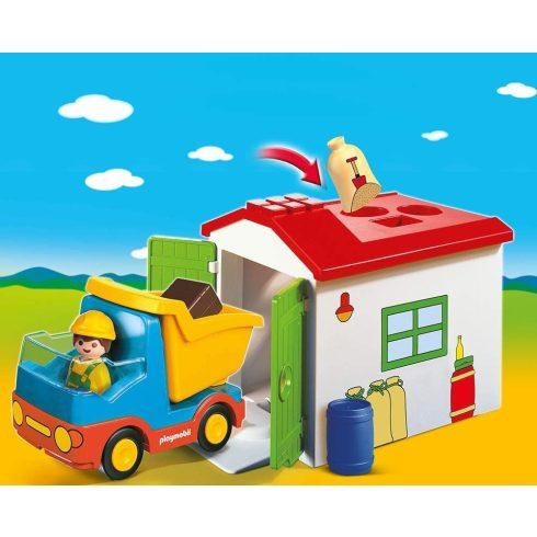 Playmobil 70184 1.2.3 Teherautó formaválogató garázzsal