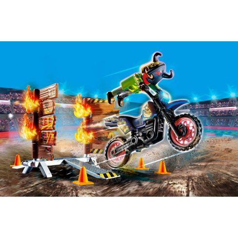 Playmobil 70553 Stuntshow - Crossmotor tüzes fallal