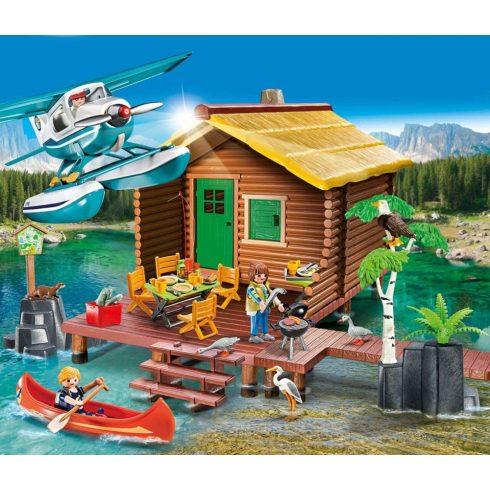 Playmobil 9320 Faház a tónál repülővel és kenuval