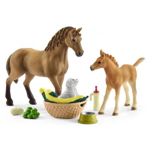 Schleich 42432 Quarter horse kanca és csikója kiskutyával