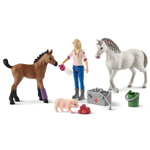 Schleich 42486 Állatorvosi látogatás a Quarter horse kancánál és csikójánál