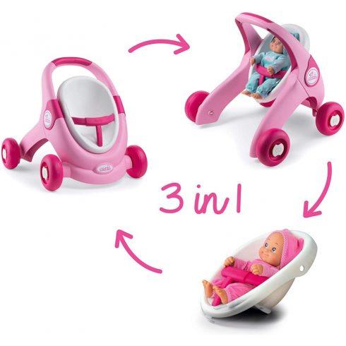 Smoby 210205 Minikiss 3 az 1-ben járássegítő, babakocsi és babaülőke