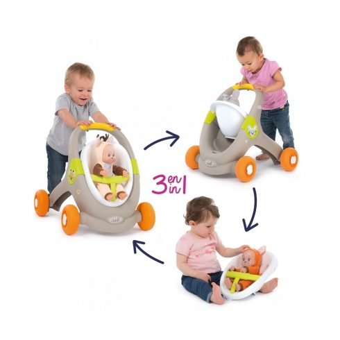 Smoby 210206 Minikiss 3 az 1-ben járássegítő, babakocsi és babaülőke állatos mintával