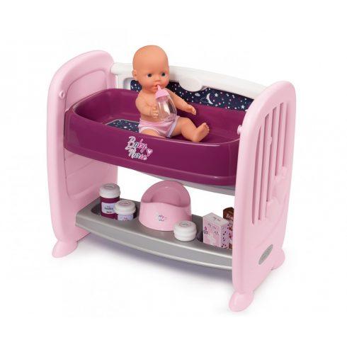 Smoby 220353 Baby Nurse 2 az 1-ben babaágy és pelenkázó 42cm-es játékbabával és kiegészítőkkel