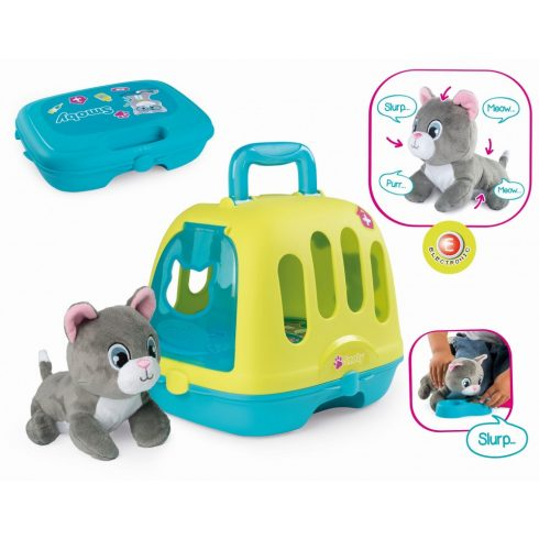 Smoby 340300 Állatorvosi játék készlet interaktív plüss cicával
