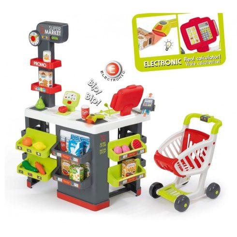 Smoby 350213 Szupermarket pénztárgéppel, bevásárlókocsival és 42db kiegészítővel