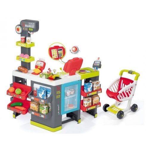 Smoby 350215 Hipermarket pénztárgéppel, bevásárlókocsival és 50db kiegészítővel