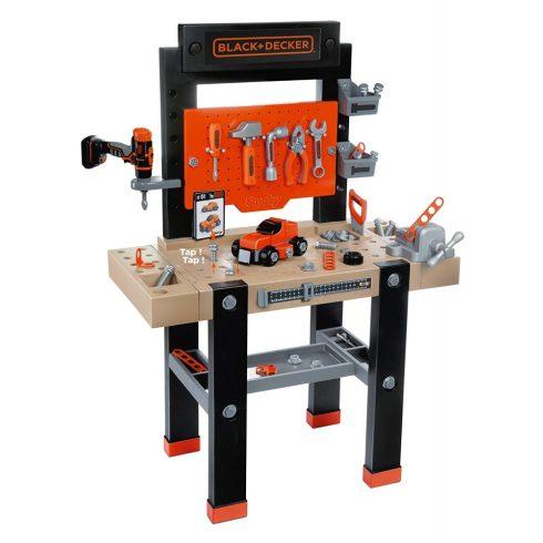 Smoby 360701 Black & Decker Bricolo Center játék szerelőasztal fúrógéppel és 90db kiegészítővel