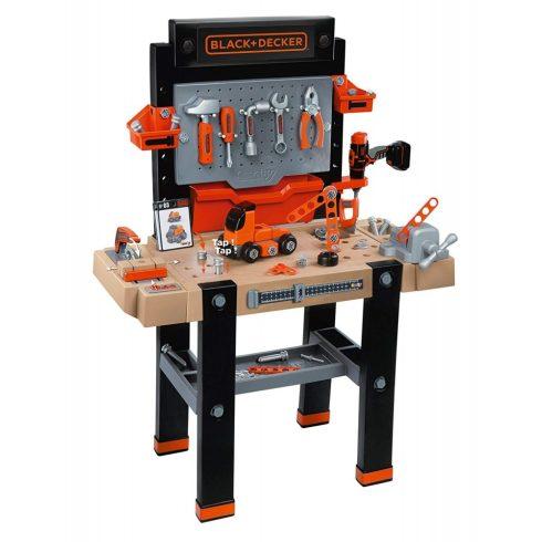 Smoby 360702 Black & Decker Bricolo Ultimate játék szerelőasztal fúrógéppel, körfűrésszel és 90db kiegészítővel
