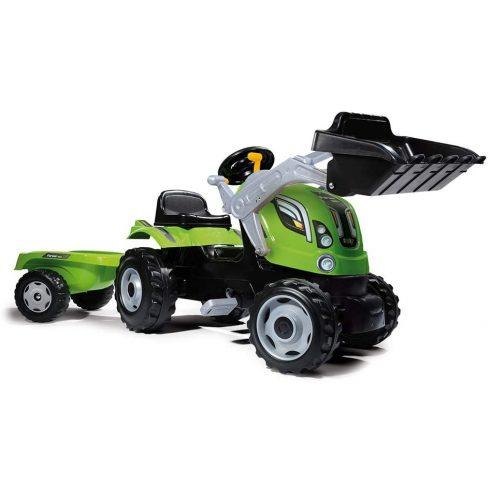 Smoby 710109 Farmer Max pedálos traktor utánfutóval és homlokrakodóval