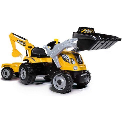Smoby 710301 Builder Max pedálos traktor utánfutóval, homlokrakodóval és markolóval