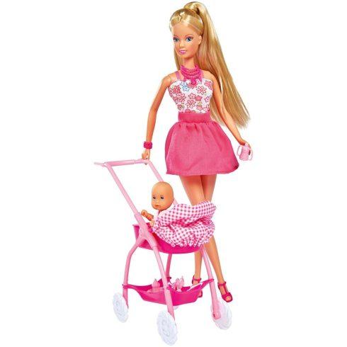 Simba Toys Steffi Love - Steffi baba kisbabával és rózsaszín babakocsival (105733067)