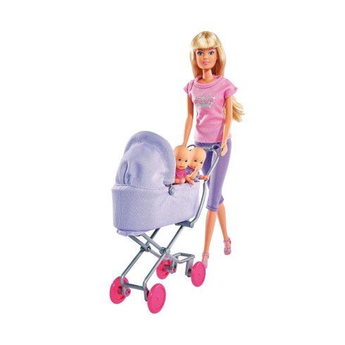 Steffi Love - Steffi barbie baba ikrekkel és lila babakocsival (105738060)
